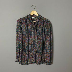 Vintage 70s Colorful Stained Glass Print Blouse